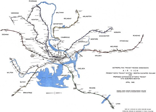 1945 diagram of possible mbta expansions