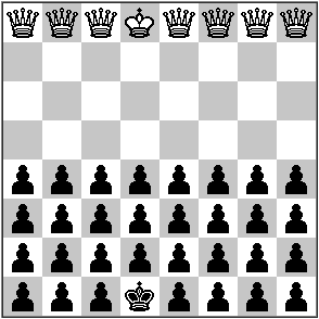 white has seven queens and a king, black has 27 pawns and a king