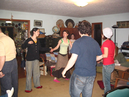 Contra dancing in the living room